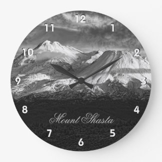 MOUNT SHASTA IN BLACK AND WHITE WALL CLOCKS