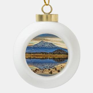 MOUNT SHASTA REFLECTED CERAMIC BALL CHRISTMAS ORNAMENT