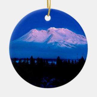 Mountain Above The Clouds Mt Shasta California Round Ceramic Decoration