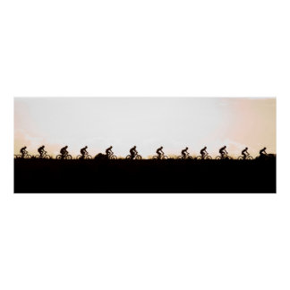 Mountain Bike Riders Make Their Way Over The Dam Poster