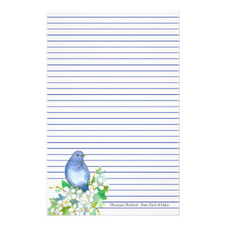 Mountain Bluebird State Bird of Idaho Blue Lined Stationery