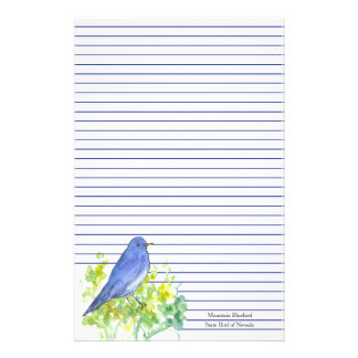 Mountain Bluebird State Bird of Nevada Blue Lined Stationery