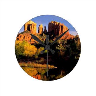 Mountain Cathedral Rock Sedona Arizona Round Wallclocks