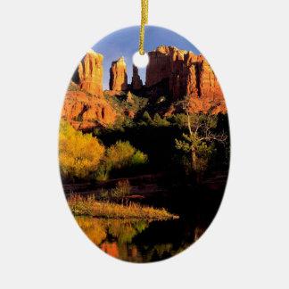 Mountain Cathedral Rock Sedona Arizona Christmas Tree Ornaments