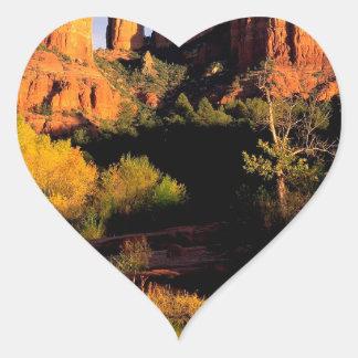 Mountain Cathedral Rock Sedona Arizona Heart Stickers