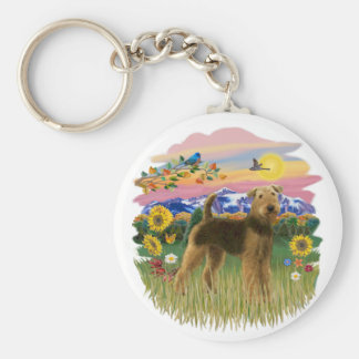 Mountain Country - Airedale (stand) Key Ring