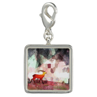 Mountain Grazing Square Charm, Silver Plated