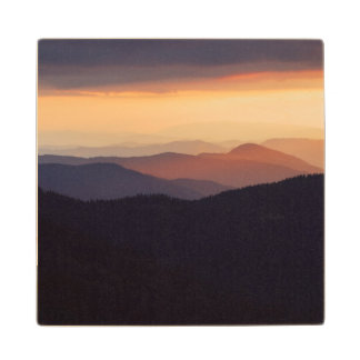 Mountain landscape with a fantastic sunset wood coaster