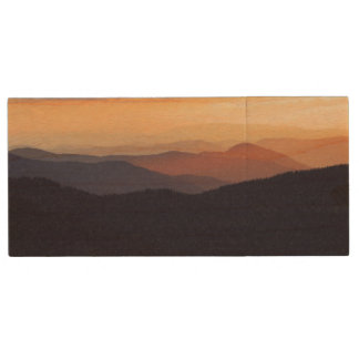 Mountain landscape with a fantastic sunset wood USB flash drive