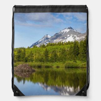 Mountain Peaks Reflect Into A Beaver Pond Drawstring Bag