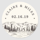 Mountain Sketch   Personalised Wedding Classic Round Sticker