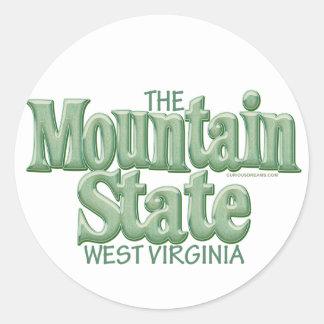 Mountain State, West Virginia Round Sticker