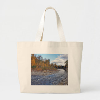 Mountain stream in autumn forest large tote bag