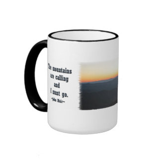 Mountain Sunset w/shimmering rays / J Muir Ringer Mug