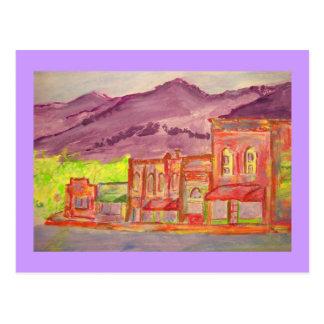 mountain town watercolour sketch postcard