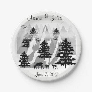 Mountain Woodland Deer Rustic Country Wedding Paper Plate