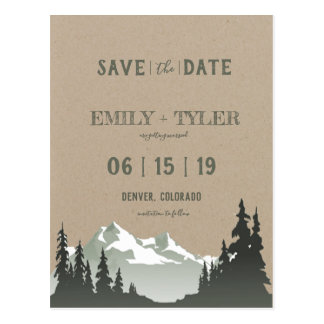 Mountain Woodland Forest Trees Photo Save The Date Postcard