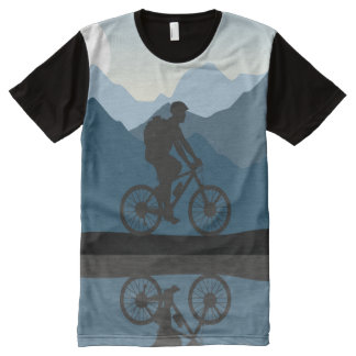 Mountains, lake, man on bike panel T-shirt All-Over Print T-Shirt
