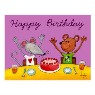 Mouse & Bear Party Postcard