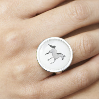 Mouse Grey Arabian Horse Trotting and Prancing Ring