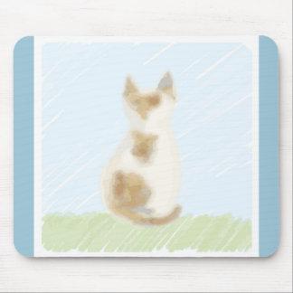 Mouse pad of tortoiseshell cat illustration