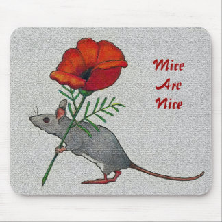 Mouse Toting Flower: Mice Are Nice: Color Pencil Mouse Pad