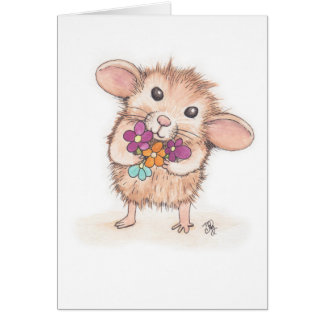 Mouse with Flower Bouquet Mother's Day Greeting Card