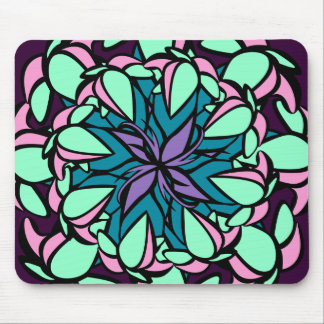 Mousemat, Droopy Floral Design, Violet Pink Cyan Mouse Pad