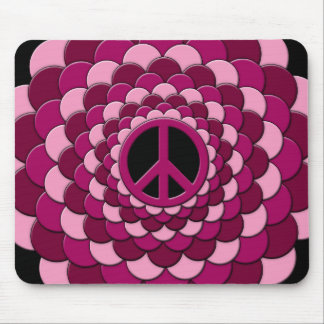 Mousemat, Peace Flower, Cyan Blue, Pink Mouse Pad