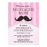Moustache bash birthday party invitation, pink