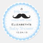 Moustache-Blue Baby Shower Round Sticker