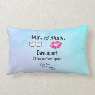 Moustache & Lips Mr. & Mrs. - Anniversary Lumbar Pillow