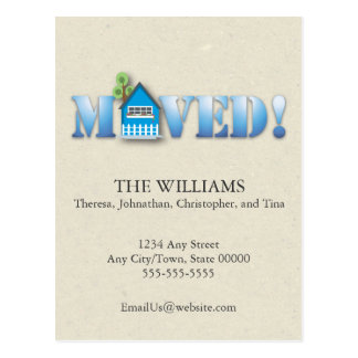 Moved Announcement (Blue) Postcard