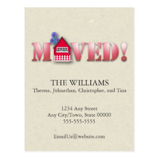 Moved Announcement (Red) Postcard