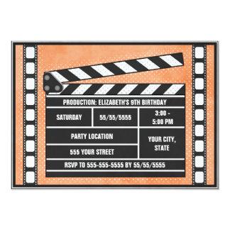 "Movie Birthday Party Clapboard Orange 5"" X 7"" Invitation Card"