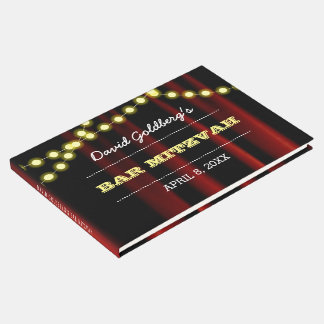 Movie Lights Yellow Bar Mitzvah Guest Book