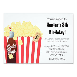 Movie Party Event Popcorn & Soda Pop Invitation