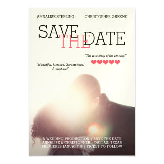 Movie Poster Save the Date Magnetic Invitations