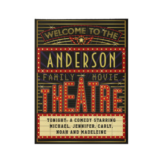 Movie Theatre Marquee Home Cinema | Custom Name Wood Poster