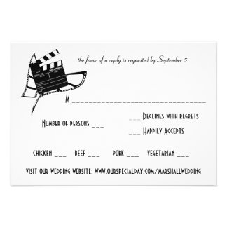 Movie Themed Wedding Response & Meal Card