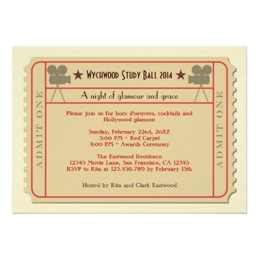 Movie Ticket Award Ceremony Party Invitation