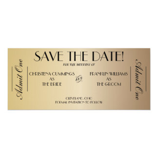 """Movie Ticket Save the Date Announcement (Gold2) 4"""" X 9.25"""" Invitation Card"""