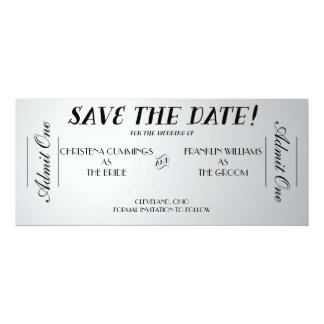 "Movie Ticket Save the Date Announcement (Silver) 4"" X 9.25"" Invitation Card"