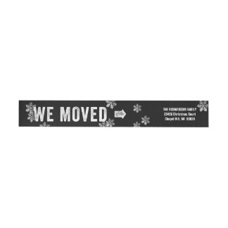 Moving Announcement Christmas Return Address Red Wrap Around Label