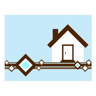 moving announcement : diamond striped home postcard