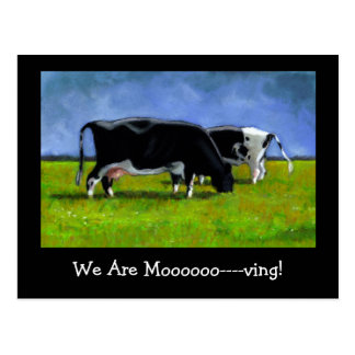 Moving Announcement: Holstein Cows: Pastel Art Postcard