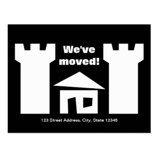 Moving postcards with funny house and new address
