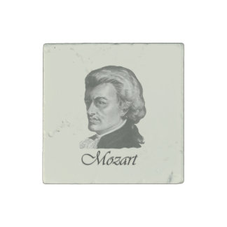 Mozart Portrait With Name Underneath Stone Magnet