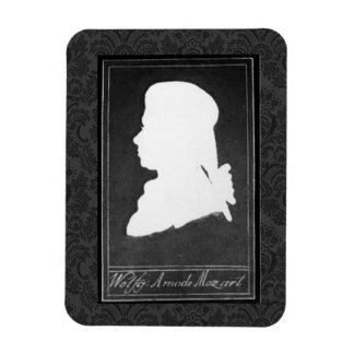 Mozart Profile Paper Cutout White on Black Magnet