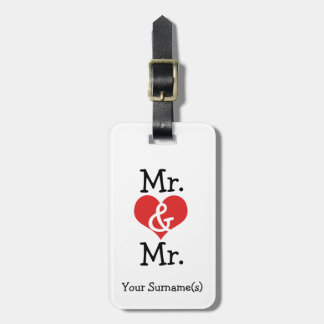 Mr and Mr Two Grooms Wedding Honeymoon Bag Tag